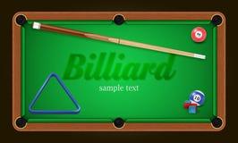 Cartaz do bilhar Ilustração do fundo da mesa de bilhar com bolas de bilhar e giz e sugestão do bilhar Fotos de Stock Royalty Free