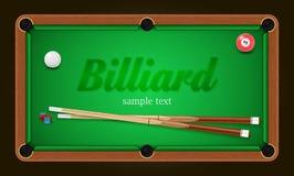 Cartaz do bilhar Ilustração do fundo da mesa de bilhar com bolas de bilhar e giz e sugestão do bilhar Imagens de Stock Royalty Free