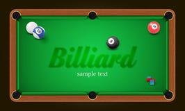 Cartaz do bilhar A ilustração do fundo da mesa de bilhar com bolas de bilhar e o bilhar riscam Imagem de Stock Royalty Free