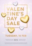 Cartaz do brilho do coração do ouro da venda do dia de são valentim ilustração stock