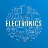 Cartaz do círculo da eletrônica com linha lisa ícones Sinais da tecnologia da conexão a Internet de Wifi Computador, smartphone,  ilustração stock
