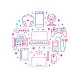 Cartaz do círculo da eletrônica com linha lisa ícones Sinais da tecnologia da conexão a Internet de Wifi Smartphone, portátil, fa ilustração stock
