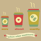 Cartaz do café do vintage com três copos e fitas ilustração royalty free