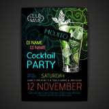 Cartaz do cocktail do disco Fotografia de Stock
