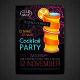Cartaz do cocktail do disco projeto do cocktail 3D Imagem de Stock Royalty Free