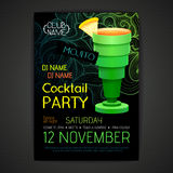 Cartaz do cocktail do disco projeto do cocktail 3D Foto de Stock Royalty Free