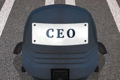 Cartaz do conceito da gestão da empresa CEO do texto Cadeira do escrit?rio em pista de decolagem marcada ou estrada na posi??o de ilustração do vetor
