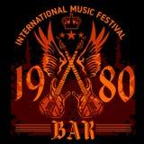Cartaz do concerto de rocha - os anos 80 Ilustração do vetor Fotografia de Stock Royalty Free