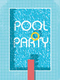 Cartaz do convite da festa na piscina, inseto ou molde do folheto Piscina retro do estilo com conservante de vida Foto de Stock Royalty Free