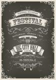 Cartaz do convite do vintage no quadro Fotografia de Stock