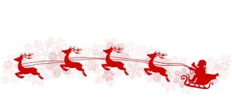 Cartaz do cumprimento do Natal com voo de Santa no pequeno trenó, reind vermelho ilustração stock
