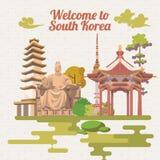 Cartaz do curso de Coreia do Sul no estilo retro Bandeira da viagem de Coreia com objetos coreanos Imagem de Stock Royalty Free