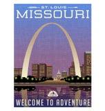 Cartaz do curso de Missouri, de Estados Unidos ou etiqueta da bagagem ilustração royalty free