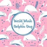 Cartaz do dia da baleia e do golfinho do mundo Imagens de Stock