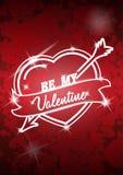 Cartaz do dia de Valentim com coração e seta Ilustração do vetor Fotografia de Stock Royalty Free