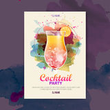 Cartaz do disco da aquarela do cocktail Foto de Stock