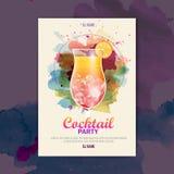 Cartaz do disco da aquarela do cocktail Foto de Stock