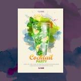 Cartaz do disco da aquarela do cocktail Imagens de Stock Royalty Free