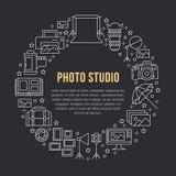 Cartaz do equipamento da fotografia com linha lisa ícones Câmara digital, fotos, iluminando câmaras de vídeo, acessórios da foto ilustração royalty free