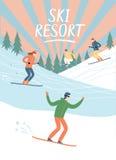 Cartaz do estilo antigo da estância de esqui Fotos de Stock