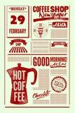 Cartaz do estilo do jornal do vintage da cafetaria ou molde tipográfico do menu Ilustração retro do vetor Fotos de Stock Royalty Free