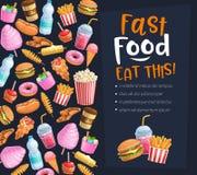 Cartaz do fast food ilustração royalty free