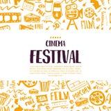 Cartaz do festival do cinema com teste padrão sem emenda no fundo com atributos do industria do cinema Artigos do projeto da cine Foto de Stock