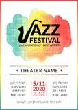 Cartaz do fundo do vetor do festival de jazz Molde da música do projeto do inseto Inseto musical do evento do festival Fotografia de Stock Royalty Free