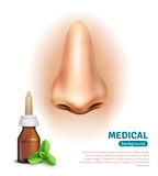 Cartaz do fundo médico da garrafa do pulverizador de nariz Imagens de Stock Royalty Free