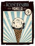 Cartaz do gelado de baunilha do vintage Imagem de Stock Royalty Free