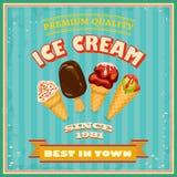 Cartaz do gelado do vintage. Imagens de Stock