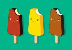 Cartaz do gelado do vintage Grupo de personagens de banda desenhada lisos do gelado Ilustração retro do vetor ilustração stock