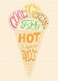 Cartaz do gelado do vintage Projeto retro colorido da etiqueta da tipografia Ilustração do vetor Foto de Stock