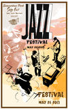 Cartaz do jazz com guitarra Imagem de Stock Royalty Free