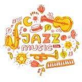 Cartaz do jazz Grupo de instrumentos musicais: teclado, bongos, maracas, guitarra, trombeta, saxofone Foto de Stock