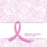 Cartaz do mês da conscientização do câncer da mama com fita cor-de-rosa e teste padrão floral ilustração do vetor