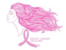 Cartaz do mês da conscientização do câncer da mama com o retrato cor-de-rosa da fita e das mulheres ilustração royalty free
