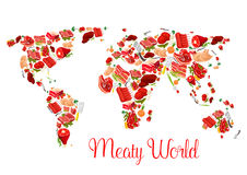 Cartaz do mapa do mundo da carne com carne, carne de porco, presunto, bacon Fotos de Stock Royalty Free