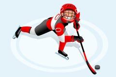 Cartaz do menino dos desenhos animados do vetor do hóquei Foto de Stock Royalty Free