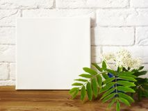 Cartaz do modelo Lona do quadrado branco no interior fotos de stock royalty free