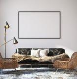 Cartaz do modelo no interior da sala de visitas do moderno ilustração royalty free