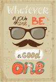 Cartaz do moderno com o bigode dos vidros do vintage e Imagens de Stock Royalty Free