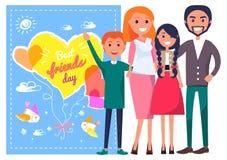 Cartaz do molde do dia dos melhores amigos com família ilustração do vetor