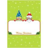 Cartaz do Natal com Santa e duende Fotos de Stock Royalty Free