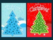 Cartaz do Natal com uma árvore e os ornamento de Natal Colagem da celebração do ano novo Imagens de Stock Royalty Free