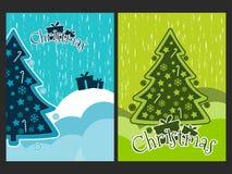 Cartaz do Natal com uma árvore e os ornamento de Natal Colagem da celebração do ano novo Imagem de Stock Royalty Free