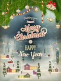 Cartaz do Natal com vila Eps 10 Imagens de Stock