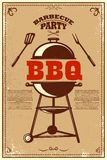 Cartaz do partido do BBQ Assado e grade Projete o elemento para o cartão, bandeira, inseto ilustração stock