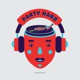 Cartaz do partido da música com cabeça e plataforma giratória Sinal do clube noturno Símbolo isolado do vetor para o festival da  ilustração stock