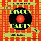 Cartaz do partido de disco Projeto do cartaz do disco Registro de vinil Ilustração do vetor Fotografia de Stock